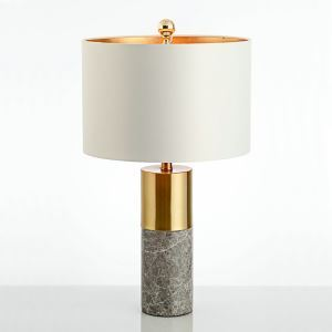 Modern Simple Table Lamp Bedroom Study Room Table Lamp Iron Marble Fixture Fabric Desk Lamp