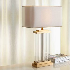 Modern Simple Table Lamp Bedroom Study Room Table Lamp Iron Glass Fixture Fabric Shade Desk Lamp