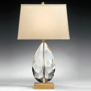 Contemporary Simple Table Lamp Bedroom Study Room Table Lamp Copper Crystal Fxture Fabric Shade Desk Lamp