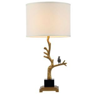 Contemporary Simple Table Lamp Branch Bird Shape Table Lamp Copper Marble Fixture Fabric Shade Desk Lamp