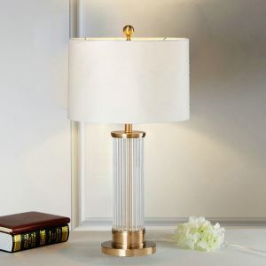 Contemporary Simple Table Lamp Bedroom Study Room Table Lamp Iron Glass Fixture Fabric Round Shade Desk Lamp