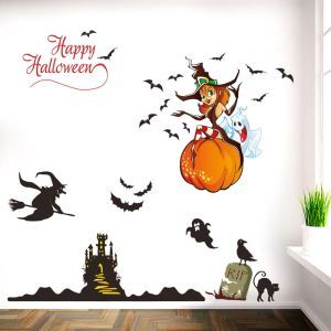 Bat and Sorceress Wall Sticker Halloween Theme Wall Sticker Waterproof Removeable Sticker