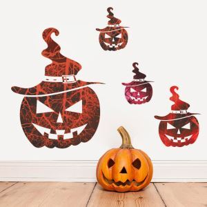 Horrible Pumpkin Wall Sticker Halloween Theme Wall Sticker Waterproof Removeable Sticker
