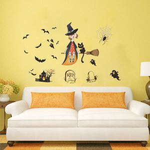 Cute Sorceress Wall Sticker Halloween Theme Wall Sticker Waterproof Removeable Sticker