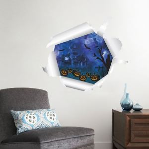 3D Pumpkin and Specter Wall Sticker Halloween Theme Wall Sticker Waterproof Removeable Sticker