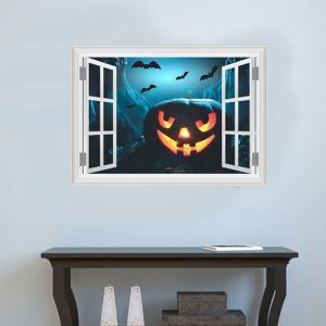 3D Castle Pumpkin Wall Sticker Halloween Theme Wall Sticker Waterproof Removeable Sticker
