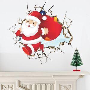 Modern Simple 3D Christmas Wall Sticker Santa Claus Broken Wall 3D Window Sitcker