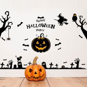 Pumpkin Lamp Wall Sticker Halloween Theme Wall Sticker Waterproof Removeable Sticker