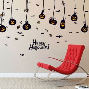 Odd Pumpkin Wall Sticker Halloween Theme Wall Sticker Waterproof Removeable Sticker