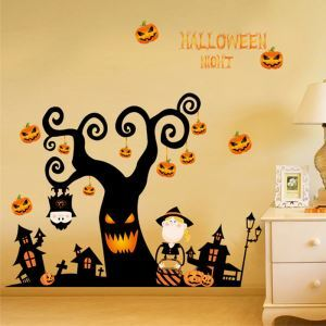 Pumpkin Tree Wall Sticker Halloween Theme Wall Sticker Waterproof Removeable Sticker