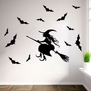Sorceress and Bat Wall Sticker Halloween Theme Wall Sticker Waterproof Removeable Sticker