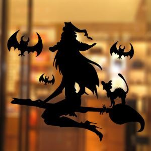 Sorceress Wall Sticker Halloween Theme Wall Sticker Waterproof Removeable Sticker