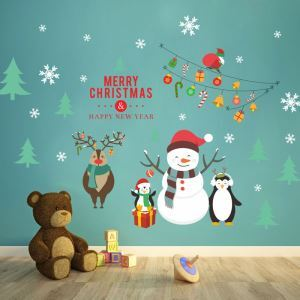 Modern Simple Christmas Wall Sticker Lovely Snowman Sitcker