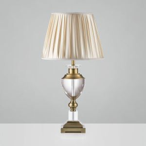 Contemporary Simple Table Lamp Bedroom Study Room Table Lamp Iron Crystal Fixture Fabric Shade Desk Lamp