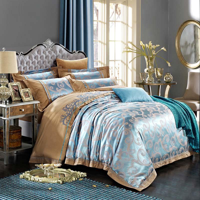 Roayl Retro Bedding Set Contrast Jacquard Bedclothes Soft Cotton ...