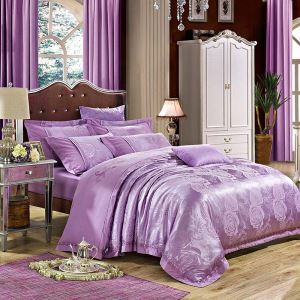 European Luxurious Bedding Set Purple Rose Jacquard Bedclothes Soft Breathable 4pcs Duvet Cover Sets