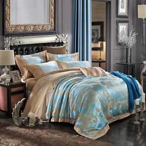 Royal Retro Bedding Set Blue European Flower Bedclothes Luxurious Jacquard 4pcs Duvet Cover Sets