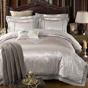 European Luxurious Bedding Set Gray Classical Jacquard Bedclothes Environmental Friendly Cotton 4pcs Duvet Cover Sets
