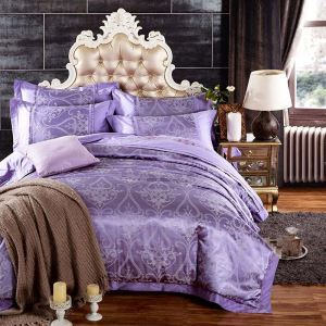 Royal Retro Bedding Set Classical European Flower Bedclothes Purple Jacquard 4pcs Duver Cover Sets