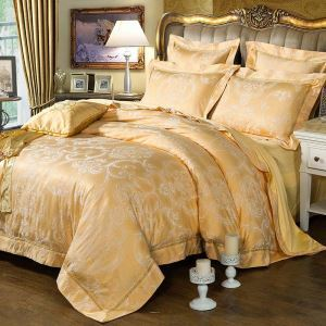 Graceful Simple Bedding Set European Yellow Flower Jacquard Bedclothes Soft 4pcs Duvet Cover Sets