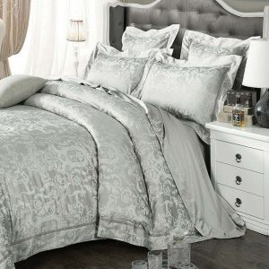 Classical Royal Bedding Set Luxurious Retro Bedclothtes Gray Jacquard 4pcs Duvet Cover Sets