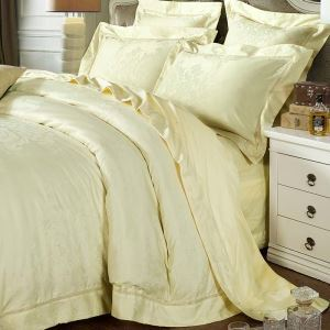 Simple Classical Bedding Set European Jacquard Bedclothes Beige Cotton 4pcs Duver Cover Sets