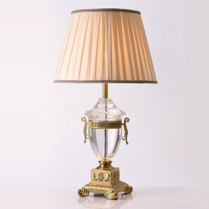 Contemporary Simple Table Lamp Dining Room Table Lamp Iron Crystal Fixture Fabric Shade Desk Lamp