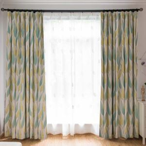American Rural Curtain Leaves Printing Soft Curtain Bedroom Living Room Fabric