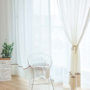 Classical Rural Sheer Curtain Simple Jacquard Sheer Curtain Polyester Cotton Bedroom Living Room Fabric