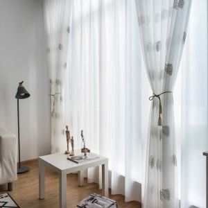 Nordic Simple Sheer Curtain Rural Leaves White Embroidery Sheer Curtain Bedroom Living Room Fabric