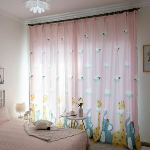 American Cartoon Curtain Soft Fawn Baby Elephant Printing Curtain Kid's Room Fabric