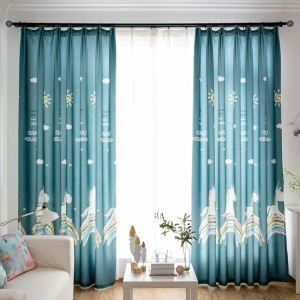 American Cartoon Curtain Soft Unicorn Printing Curtain Boy's Room Fabric