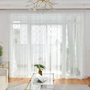 Nordic Simple Sheer Curtain Fresh Embroidery Sheer Curtain Bedroom Living Room Fabric with Diamond Geometry Pattern