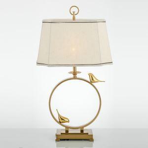 Contemporary Simple Table Lamp Unique Bird Fixture Square Shade Table Lamp Copper Desk Light