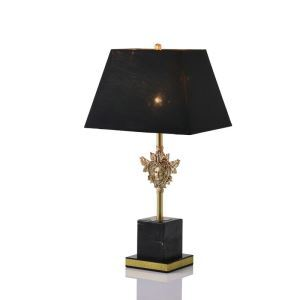 Elegant Black Table Lamp Contemporary Copper Marble Table Lamp Mysterious Style Desk Light