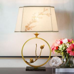 Contemporary Simple Table Lamp Unique Copper Fixture Table Lamp Embroidery Fabric Shade Desk Light