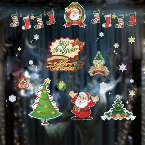 Modern Simple Christmas Wall Sticker White Snowflake and Santa Claus Window Sitcker