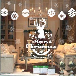 Modern Simple Christmas Wall Sticker White Snowflake and Elk Window Sitcker