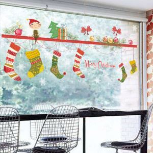 Modern Simple Christmas Wall Sticker Christmas Stockings Window Sitcker