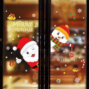 Modern Simple Christmas Wall Sticker Green Santa Claus and Snowman Window Sitcker