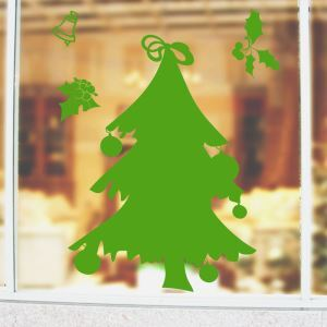 Modern Simple Christmas Wall Sticker Green Christmas Tree and Jingling Bell Window Sitcker