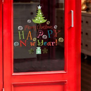 Modern Simple Christmas Wall Sticker Happy New Year Letter Window Sitcker