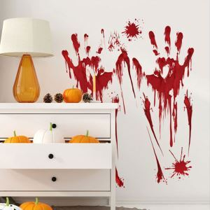 Blood Handprint Wall Sticker Halloween Theme Wall Sticker Waterproof Removeable Sticker