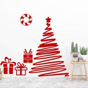 Contemporary Plain Wall Sticker Special Red Christmas Tree Window Sticker