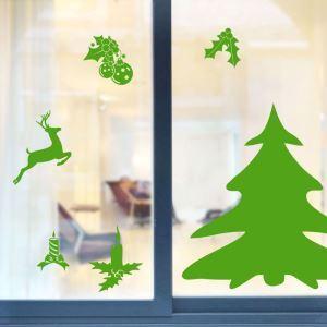 Contemporary Plain Wall Sticker Christmas Theme Green Window Sticker
