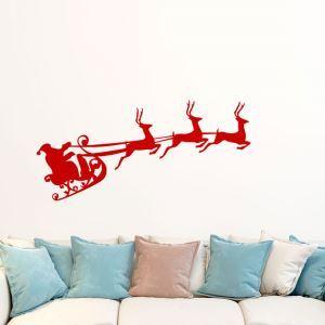 Contemporary Plain Wall Sticker Christmas Theme Window Sticker Red Elk Santa Claus Pattern