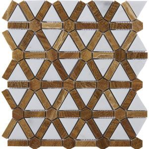 Triangle Ceramic Mosaic Tile Brown and White Leaf Decor Tile Wall and Bathroom Tile