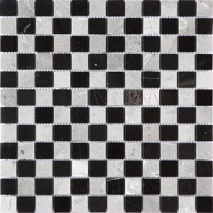 Square Ceramic Mosaic Tile Black and White Wall and Bathroom Decor Tile