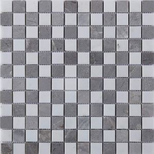 Square Ceramic Mosaic Tile Gray and White Wall and Bathroom Decor Tile