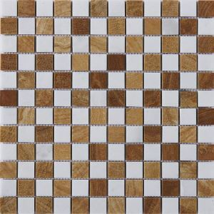 Square Ceramic Mosaic Tile Brown and White Wall and Bathroom Decor Tile